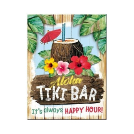 Aloha Tiki Bar. Koelkastmagneet 8 cm x 6 cm.