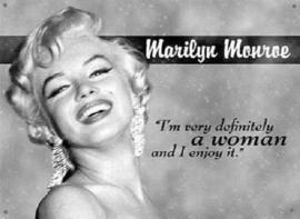 Marilyn Monroe a Woman Metalen wandbord 30,5 x 43 cm.