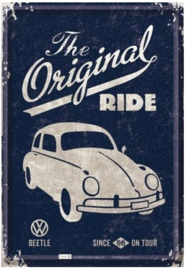 VW Beetle The Original Ride Metalen Postcard 10 x 14 cm
