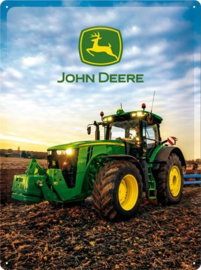 John Deere Photo Modell 8370R .  Metalen wandbord in reliëf 30 x 40 cm.