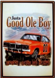 Justa Good Ole Boy. Metalen wandbord 30 x 42 cm.