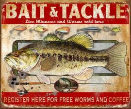 Bait & Tackle. Metalen wandbord 31,5 x 40,5 cm.