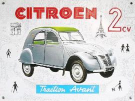 Citroen 2cv Metalen wandbord 30 x 40 cm.