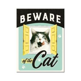 Beware of the Cat. Koelkastmagneet 8 cm x 6 cm..