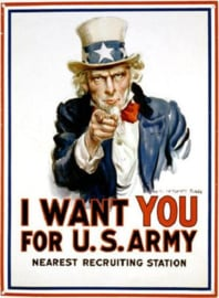 Uncle Sam I Want You  Metalen wandbord 31,5 x 40,5 cm.
