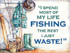 My Life Fishing Metalen wandbord 30 x 40 cm.