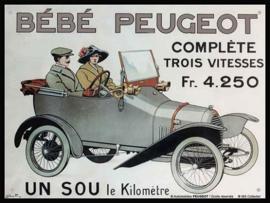 Bébé Peugeot    Metalen wandbord 15 x 20 cm.