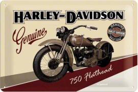 Harley-Davidson 750 Flathead. Metalen wandbord in reliëf 20 x 30 cm.