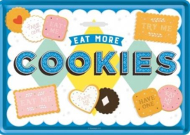 Eat More Cookies Metalen Postcard 10  x 14 cm.