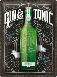 Gin & Tonic Green Edition. Metalen wandbord in reliëf 30 x 40 cm.