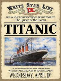 Titanic White Star Line 2 Metalen wandbord 30 x 40 cm.