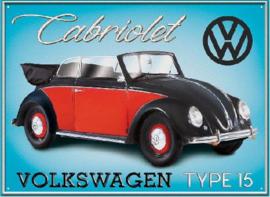 VW Cabriolet Type15 Metalen wandbord 30 x 40 cm.
