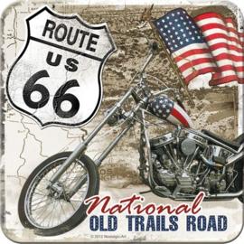 Route 66 Old Trails Road  Onderzetters 9 x 9 cm. 5 stuks.