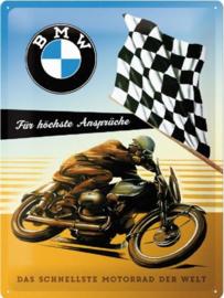 BMW Das Schnellste Motorrad der Welt Metalen wandbord in reliëf 30x40 cm