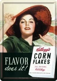Kellogg's Flavor Metalen Postcard 10 x 14 cm.