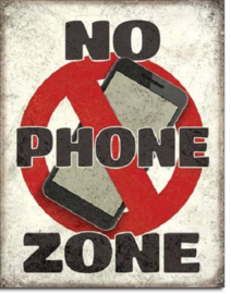 No Phone Zone Metalen wandbord 31,5 x 40,5 cm.