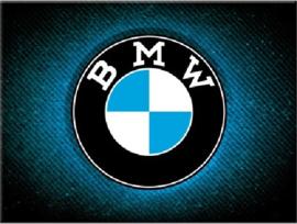 BMW  Logo Blue Shine. Koelkastmagneet 8 cm x 6 cm.