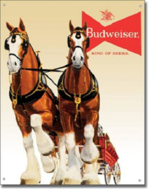 Budweiser King of Beers (2) Metalen wandplaat 30,5 x 42 cm.