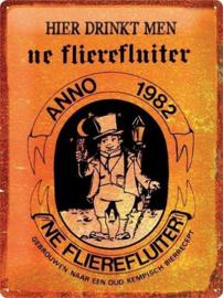 Ne Flierefluiter Anno 1982 Metalen wandbord in reliëf 30 x 40 cm