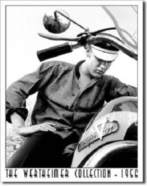 Elvis op Harley Davidson 1956 Metalen wandbord 31,5 x 40,5 cm.