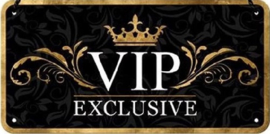 VIP Exclusive.  Metalen wandbord in reliëf 10 x 20 cm.