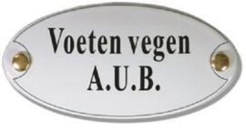 Voeten Vegen A.U.B. Emaille Naambordje 10 x 5 cm Ovaal