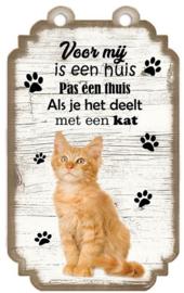 Ginger Cat Kitten Rossig. Houten tekstbordje met kat 20 x 12 cm.