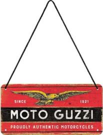 Moto Guzzi Metalen wandbord in reliëf 10 x 20 cm.