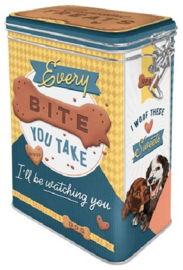 Every Bite You Take Dog Treats. Bewaarblik met clipsluiting.