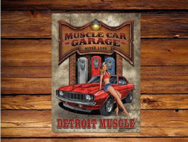 Muscle Car Garage  Metalen wandbord 31,5 x 40,5 cm.