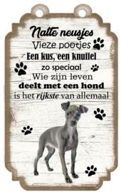 Greyhound Houten hondenbordje 20 x 12 cm.