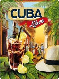 Cuba Libre Metalen wandbord in reliëf 15 x 20 cm.