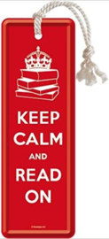Keep Calm and Read On  Metalen boekenlegger 15 x 5 cm.