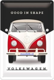 VW Bulli Good In Shape Metalen wandbord in reliëf 20 x 30 cm