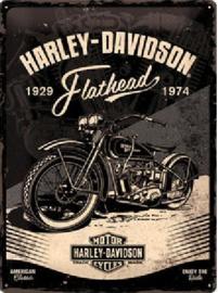 Harley Davidson Flathead 1929-1974 Metalen wandbord in reliëf 30 x 40 cm