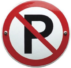 Verboden te parkeren Emaille bordje ⌀ 30 cm.