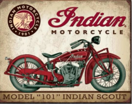 Indian Motorcycle Scout  Metalen wandbord 31,5 x 40,5 cm