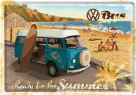 VW Bus Surf Coast Metalen Postcard 10 x 14 cm.