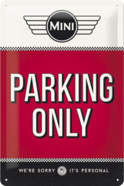 Mini Parking Only Metalen wandbord in reliëf 20 x 30 cm