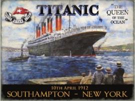 Titanic 10 April 1912 Metalen wandbord 30 x 40 cm.
