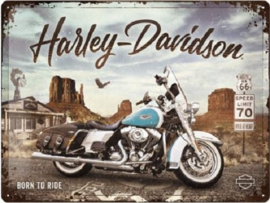 Harley-Davidson - Route 66 Road King Classic.  Metalen wandbord in reliëf 30 x 40 cm.