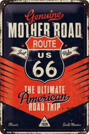 Route 66 The Ultimate Road Trip. Metalen wandbord in reliëf 20 x 30 cm.