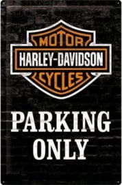 Harley Davidson Parking Only  Metalen wandbord in reliëf 40 x 60 cm.