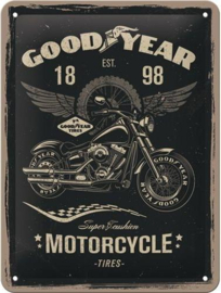 GoodYear 1898 Metalen wandbord in reliëf15 x 20 cm.