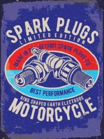 Spark Plugs Motorcycle. Metalen wandbord 30 x 40 cm.