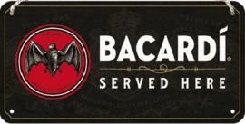 Bacardi - Served Here Metalen wandbord 10 x 20 cm