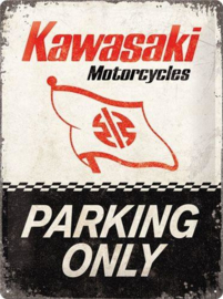 Kawasaki Parking Only  Metalen wandbord in reliëf 30 x 40 cm.