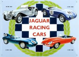 Jaguar Racing Cars Collage.   Metalen wandbord 30 x 40 cm.