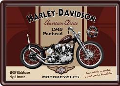 Harley Davidson Panhead 1949  Metalen Postcard 10 x 14 cm.