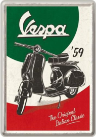 Vespa Italian Classic Metalen Postcard 10  x 14 cm.